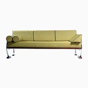 Sofá cama checo Art Déco de acero tubular, años 30