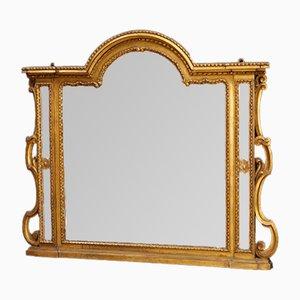 Espejo italiano de madera tallada y dorada, años 30