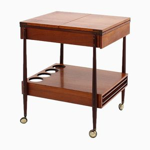 Mid-Century Italian Teak Bar Trolley with Folding Trays from Galimberti
