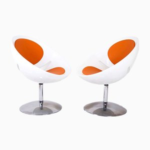 Französische Vintage Double Mirror Egg Chairs von Pierre Guariche, 1950er, 2er Set