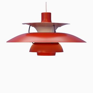 PH5 Pendant Lamp in Red by Poul Henningsen for Louis Poulsen, 1960s