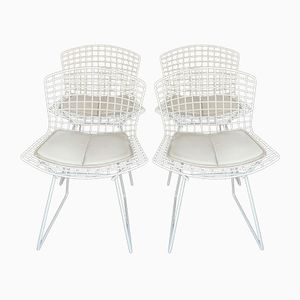 Vintage White Steel Chairs by Harry Bertoia for Knoll International, 1970s, Set of 4