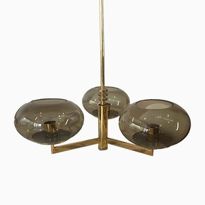 Vintage Brass & Smoked Glass Chandelier by Gaetano Sciolari for Sciolari