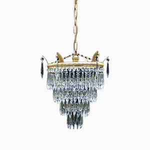 Italian Art Deco Four-Tier Crystal Glass Chandelier, 1930s