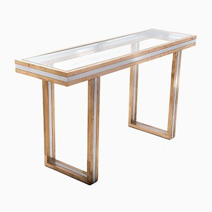 Brass Console Table by Willy Rizzo, 1970s