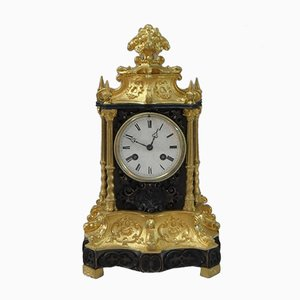 French Gothic Revival Bronze and Bronze Gilt Mantel Clock, 1880s