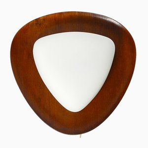 Teak and Opaline Glass Shade Wall Lamp by Reggiani Goffredo for Studio Reggiani, 1960s