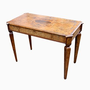 Antique Italian Walnut Table with Inlay and Single Drawer