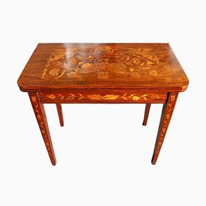 Antique Dutch Marquetry Inlaid Card Table with Green Baize