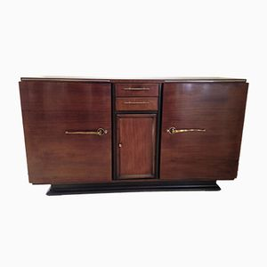 Low Art Deco Rosewood & Brass Buffet, 1930s