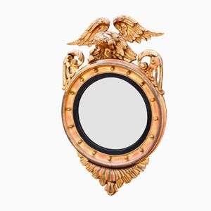 Regency Gilt Wood Convex Mirror with Eagle Decoration, 1810s