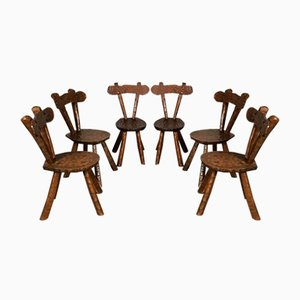 Mid-Century Brutalist Sculptured Oak Chairs, Set of 6