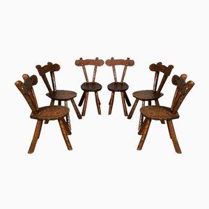 Mid-Century Brutalist Sculptured Oak Chairs, Set of 6