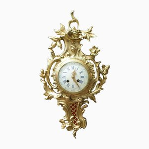 French Bronze Gilt Cartel Wall Clock from Japy Freres, 1880s