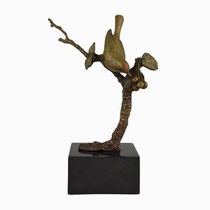 Escultura de pájaro en una rama Art Déco vintage de Irenee Rochard, años 30