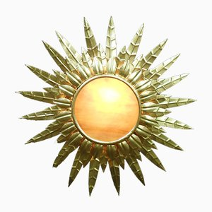 Mid-Century French Gilt Metal Sunburst Ceiling Light, 1940s