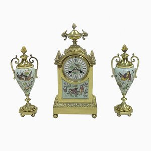 Antique French Brass & Porcelain Clock & 2 Vases, 1880s