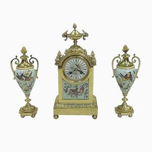 Orologio e due vasi antichi in ottone e porcellana, Francia, fine XIX secolo