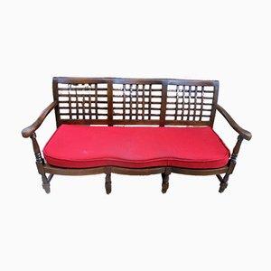 Exotische Vintage Sitzbank mit Gestell aus Holz, 1970er