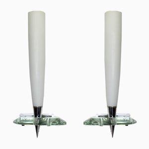 Wandlampen aus verchromtem Messing & Glas von Max Ingrand für Fontana Arte, 1950er, 2er Set