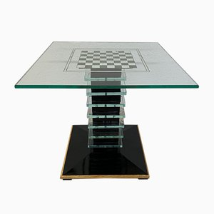 Italian Glass and Wood Side Table by Pietro Chiesa, 1940s