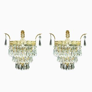 Italian Crystal Glass Wall Lights, 1920s, Set of 2