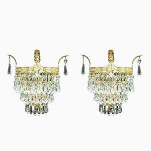 Italienische Wandlampen aus Kristallglas, 1920er, 2er Set