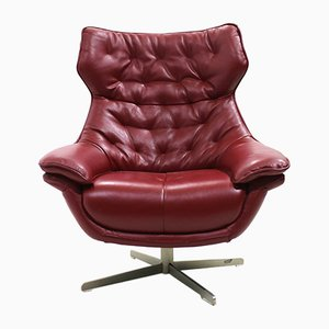 Nordic Leather Swivel Lounge Chair, 1980s