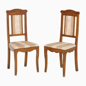 Antique Art Nouveau Walnut Side Chairs, Set of 2