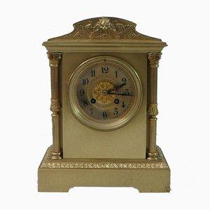 Reloj de repisa francés Belle Epoque de latón, década de 1890
