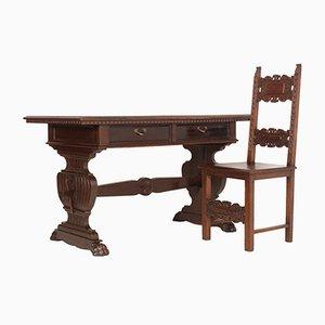 Schreibtisch & Stuhl aus geschnitztem massivem Nussholz von Dini & Puccini, 19. Jh.