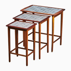 Danish Teak, Beech & Ceramic Tile Nesting Tables, 1960s