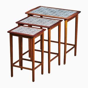 Tables Gigognes en Teck, en Hêtre & en Carreau de Céramique, Danemark, 1960s
