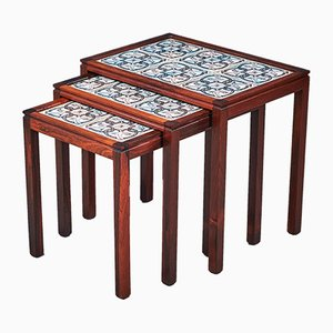 Rosewood Nesting Tables with Tiles, 1960s