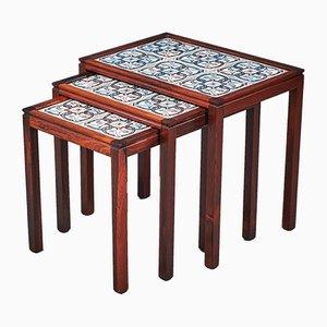 Tavoli ad incastro in palissandro con mattonelle, anni '60