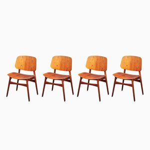 Teak and Oak Model 122 'Shell Chairs' by Børge Mogensen for Søborg Møbelfabrik, 1960s, Set of 4