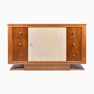 Art Deco Satin Birch, Oak, Brass and Velum Cabinet