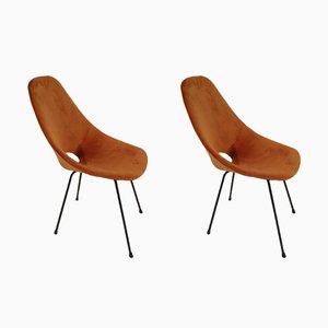 Stuhl aus Samt & Stahlrohr von Vittorio Nobili für Fratelli Tagliabue, 1950er