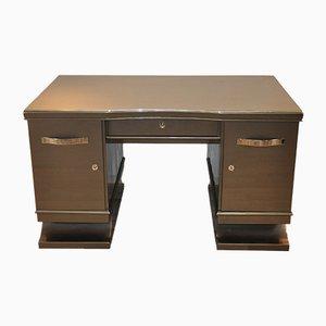 Art Deco Schreibtisch in metallischem Grau