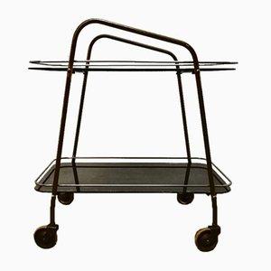 Art Deco Rollwagen aus schwarzem Glas & Messing