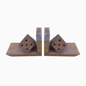 Fermalibri Art Déco in legno massiccio, anni '30, set di 2