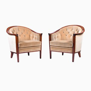 Vintage Mahogany Armchairs, Set of 2