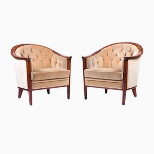 Vintage Mahogany Armchairs, Set of 2
