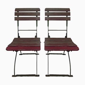Vintage Industrial Garden Folding Chairs, Set of 2