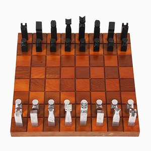 Vintage Modernist Polished Aluminium & Wood Chess Set