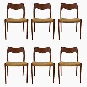 Chaises de Salon par Niels O. Møller, 1960s, Set de 6