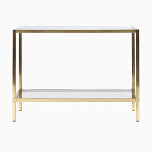 Brass and Smoked Glass Two-Tiered Console Table, 1970s