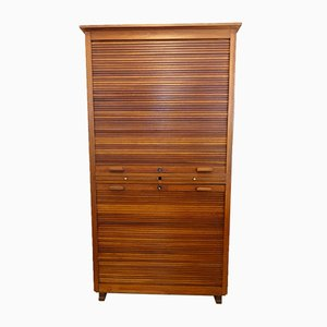 Industrial Portuguese Walnut Tambour Door Filing Cabinet from Olaio, 1940s