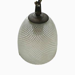 Lámpara colgante de cristal de Murano Reticello de Venini, años 50
