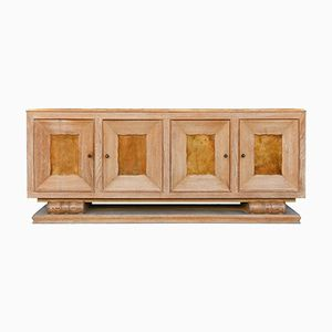 Large Art Deco Limed Oak and Velum Sideboard by Perdoni Lombard